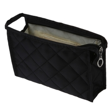 SODIAL(R) Black Grid Pattern Cosmetic Make Up Small Zippered Bag