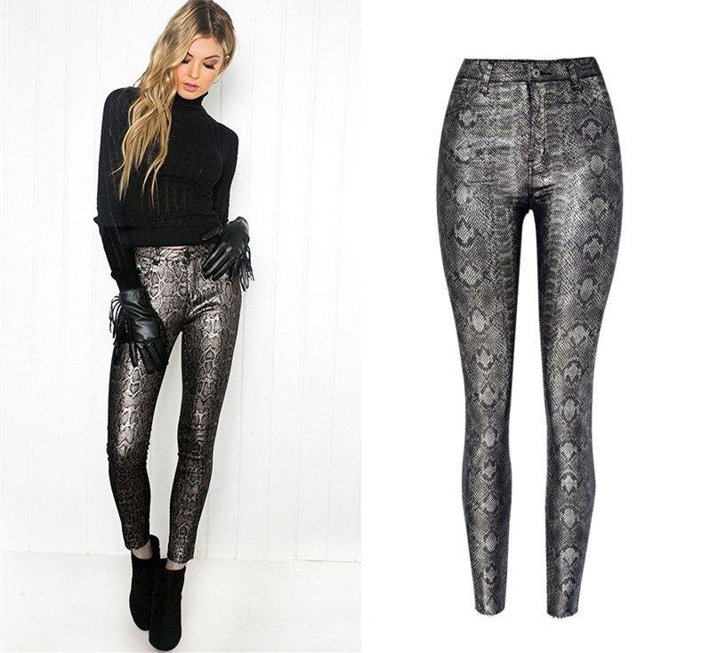 Women New Europe America Faux PU Leather Snake Print Pencil   Pants   Fashion Skinny High Waist Sexy Trousers