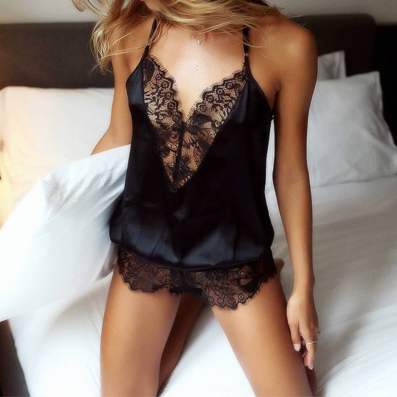 Women Sexy Lace Lingeries Babydoll Solid Underwear Nightwear One Piece Nightclub Bodysuit Female Spaghetti Tank Top Sleepwear