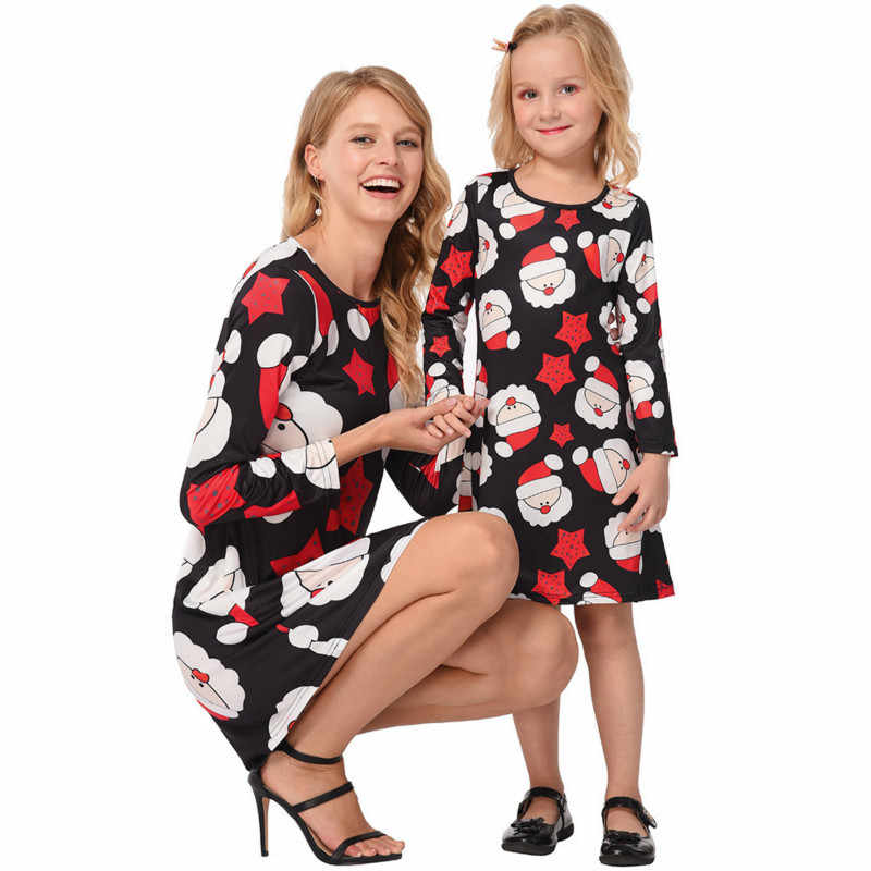 0c8ac1b459cd0 Christmas Family Look Printed Dress 2018 Mother Daughter Matching Clothes  Mommy and Me Outfits Robe Mere