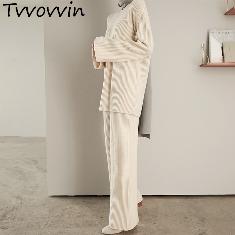 Woman Set O neck Solid Color Pullover Sweater High Waist Wide Leg Pants 2 Piece Set