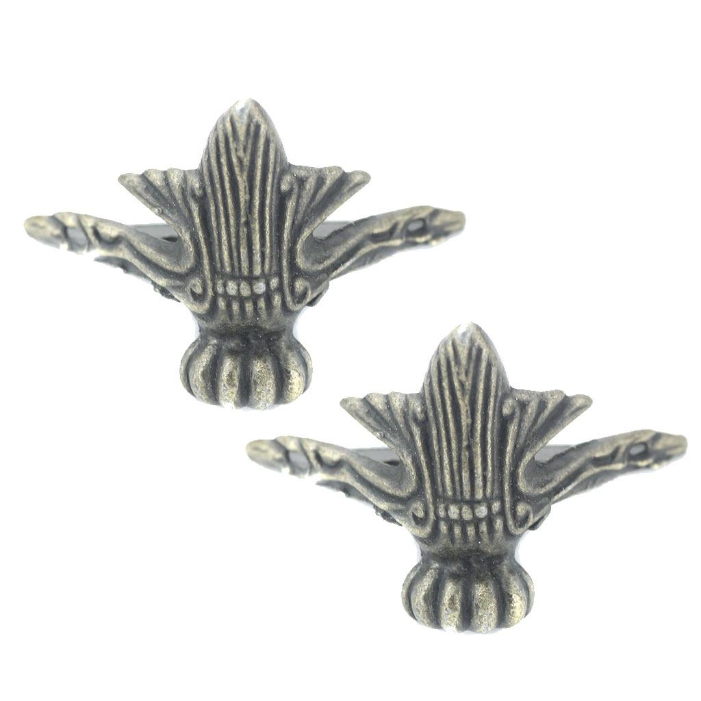 Magideal 4 Pcs Legering Retro Sieraden Borst Houten Doos Decoratieve Voeten Been Metalen Hoek Protector Met Montage Schroef Thuis Opslag