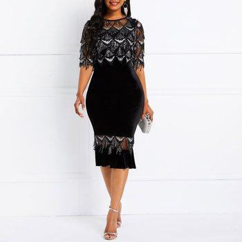 9f36f3ae3486 Vestidos a media pierna elegante Casual Oficina señora Vintage verano  sirena liso lentejuelas malla volantes Mujer moda vestido negro