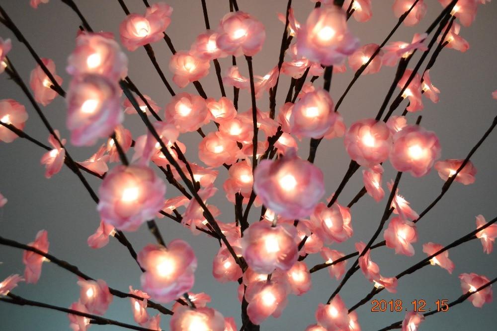 52 160 LED fleur Mini Rose fleur arbre lumière avec Base Nature tronc vacances nouvel an mariage Luminaria décoratif arbre lumière - 5