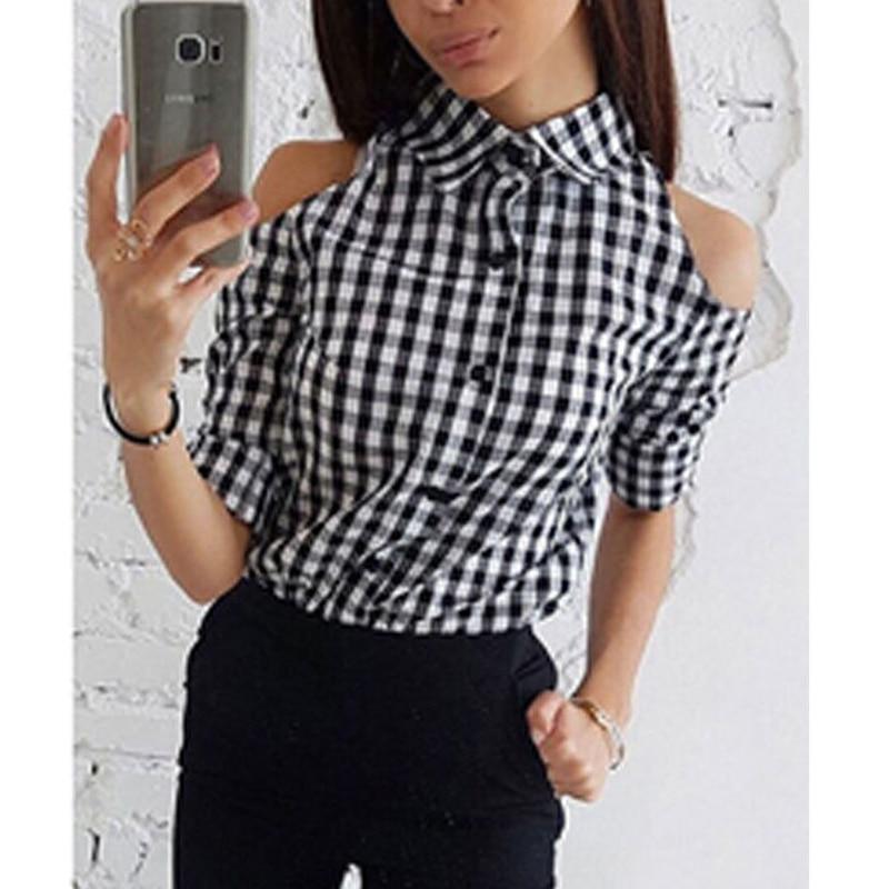 2018 Women   Blouse     Shirt   Plaid Long Sleeve Off Shoulder Ladies Slim Casual Tops Autumn Fashion New Female Costume Clothes Sale