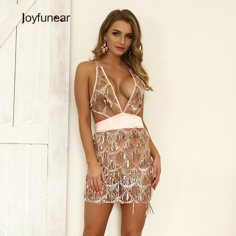 Joyfunear Lace Up Sequin Dress 4AK997