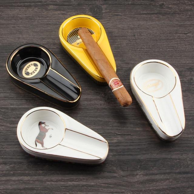 COHIBA أدوات السيجار السيراميك السيجار منفضة سجائر واحدة حامل فتحة الرماد المستديرة 4 ألوان الأصفر التبغ طفاية سجائر هدية صندوق