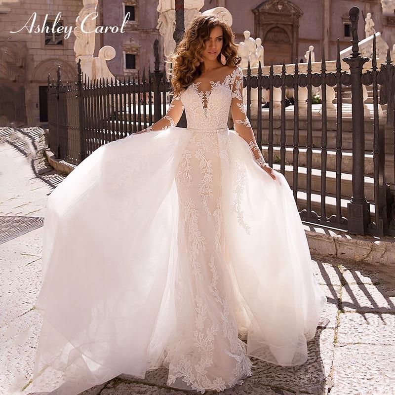 Ashley Carol Sexy Deep V neckline Long Sleeve Mermaid Wedding Dress 2019 Detachable Train Bride Dresses