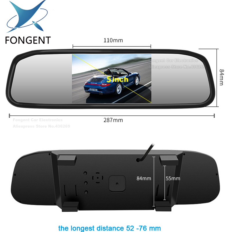 Reversing Parking Monitor 5 Inch TFT LCD Color Screen Display Car Reverse Rear View Mirror Monitor Back Off Up Camera Optional