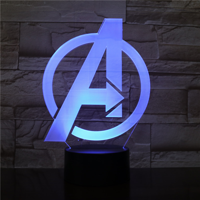 Marvel A Sign The Avengers 3D Table Lamp Captain Marvel 7 Colors Changing Night Light USB Decorative Kids Toys Gifts 2433
