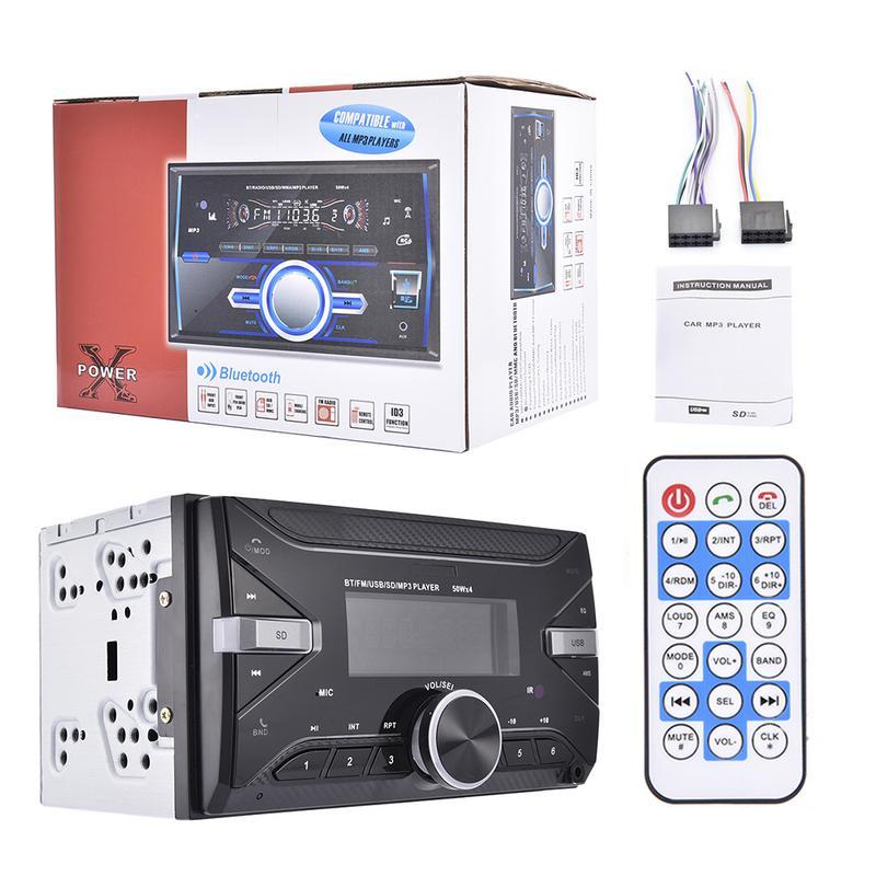Lecteur multimédia 7 couleurs | Lecteur multimédia, avec rétro-éclairage 7 couleurs, Bluetooth, Radio stéréo FM, récepteur USB/SD MP3 ISO