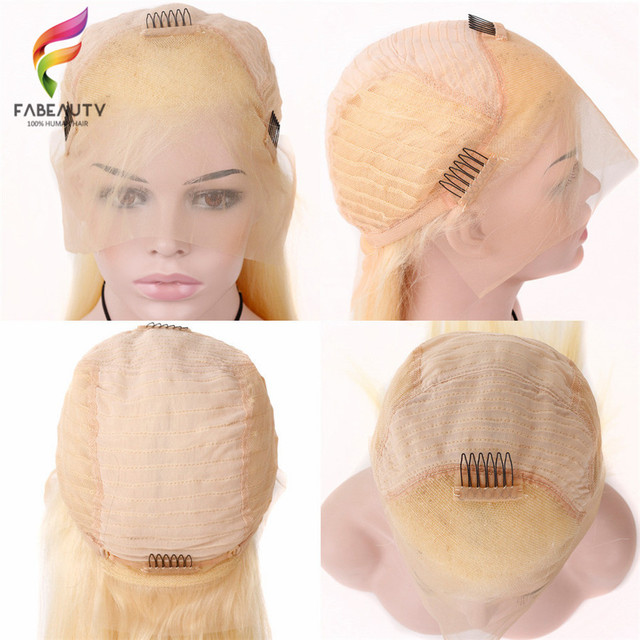 #613 Blonde Wigs 150% Density Brazilian Straight Remy Human Hair Lace Front Wig Pre Plucked With Baby Hair Blonde Lace Wigs 4