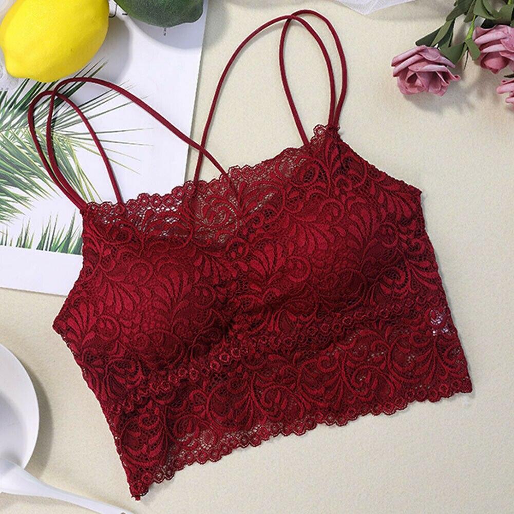 Womens Lace Bralette Bra Crop Lace Tops Cami Lingerie Unpadded Tank Floral Vest