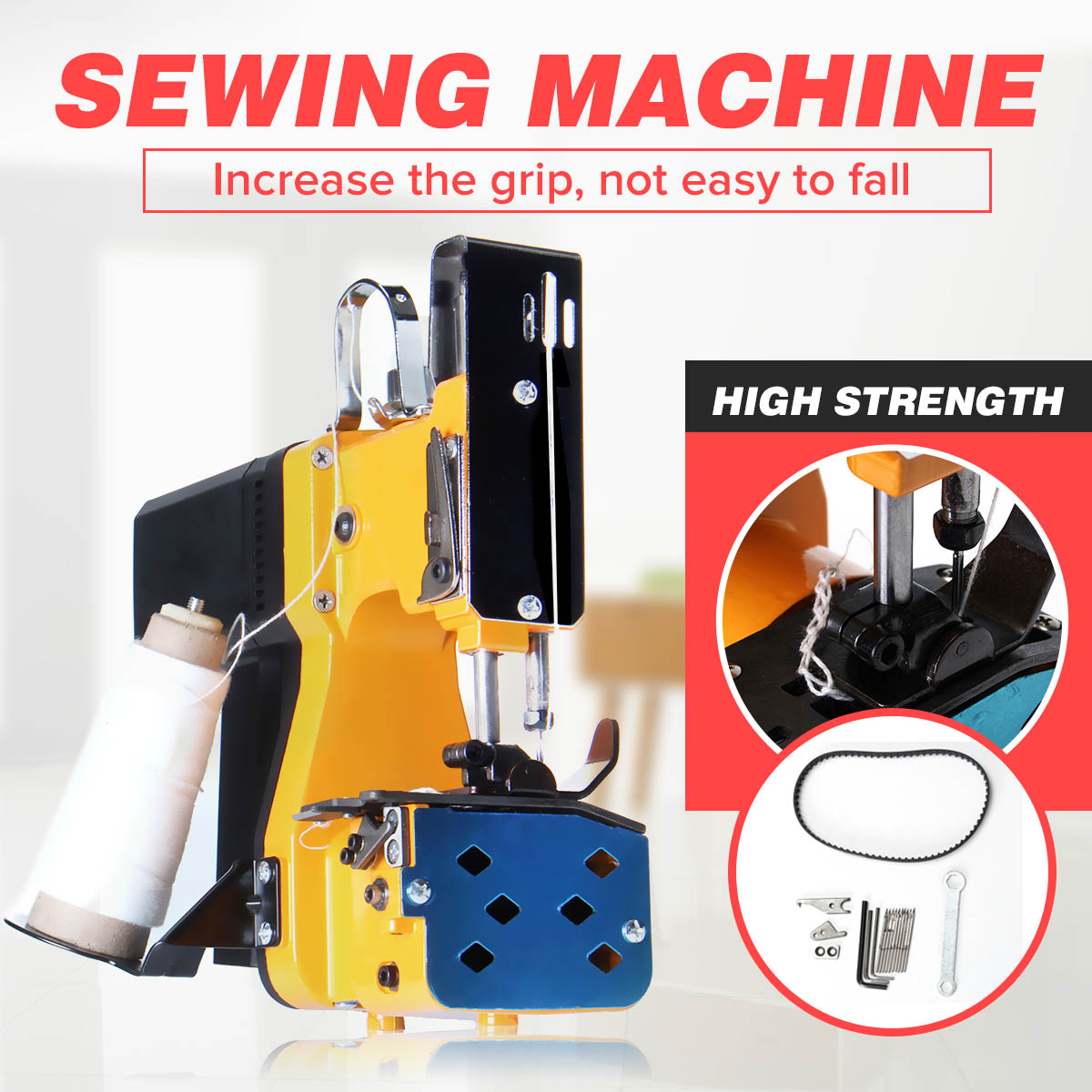 220V Mini Electric Sewing Machine Kit Portable Bag Closer Stitching Sealing Machines for Industrial Home Textile with Plug