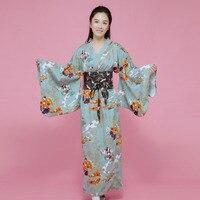 Lady Japanese Tradition Yukata Kimono Bath Robe Gown With Obi Flower Vintage Evening Party Dress geisha Cosplay Costume H9020