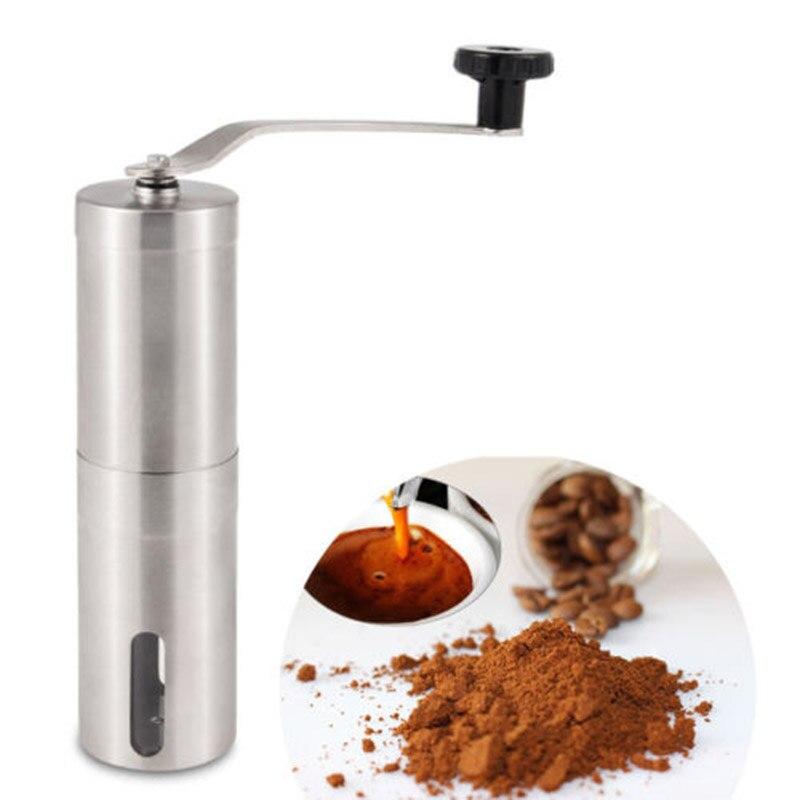 Новая ручная кофемолка конический заусенцы мельница Bean портативный французский пресс серебро