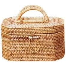 Women Straw Bag Female Summer Beach Handbag Lady Handmade Ins Popular Vintage Rattan Bags Hollow Totes Box Large Bag цена и фото