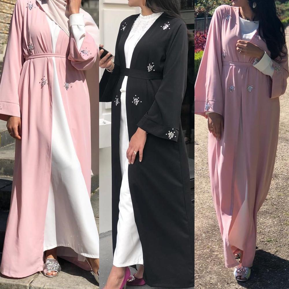Abaya Dubai Oman Women Muslim Open Front Cardigan Maxi Dress Jilbab Beaded Party Gown Rhinestone Elegant Islamic Dresses Ramadan