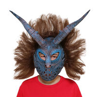 2018 Erik Killmonger Horn Mask With Wig Helmet Black Panther Halloween Cosplay Men Mask Party Theme Custume Props