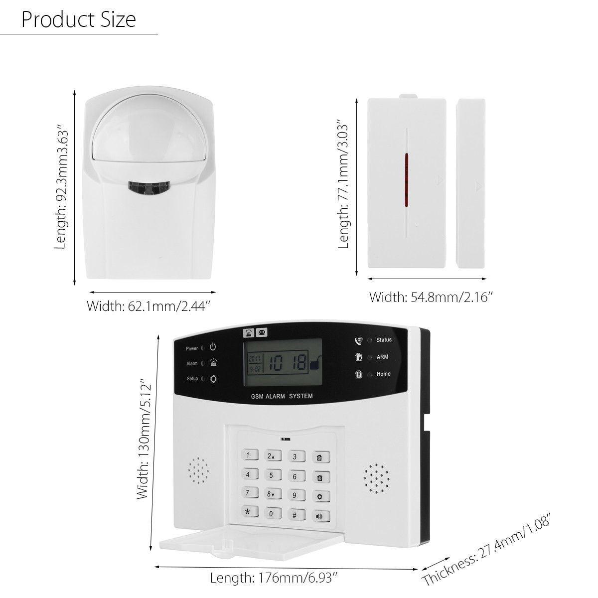 Écran LCD GSM sans fil système d'alarme antivol maison SOS mouvement porte fenêtre capteur alarme de sécurité - 5
