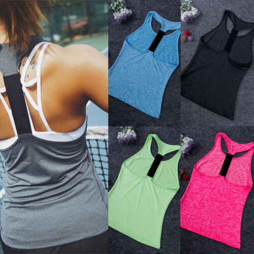 2019 Running Vest Ladies Women Sports Plain Top Vest Gym Fitness Ladies Yoga Workout Running Jogging Size XS-XL