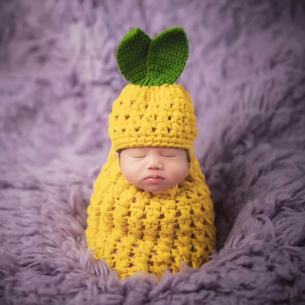 Newborn Photography Props Baby Pineapple Shape Crochet Knitting Clothing Baby Hat+Sleeping Bag Set Baby Photo Props Accessories