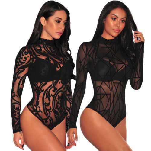 ae3b10b716 Women Long Sleeve Stretch Bodysuit Lace Sheer Leotard Body Shirt Party Lace  V-Neck Top