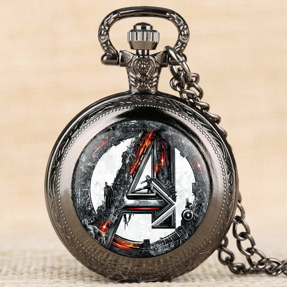 Mens Pocket Watch Supermen Pattern Pocket Watch Necklace Pendant Pocket Clock Top Gift Dropshipping