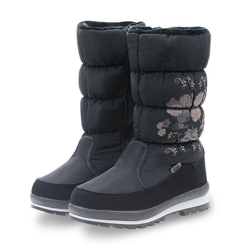 GOGC New Arrial Women s Winter High Boots Shoes Comfortable Flower Floral Women s Boots Winter