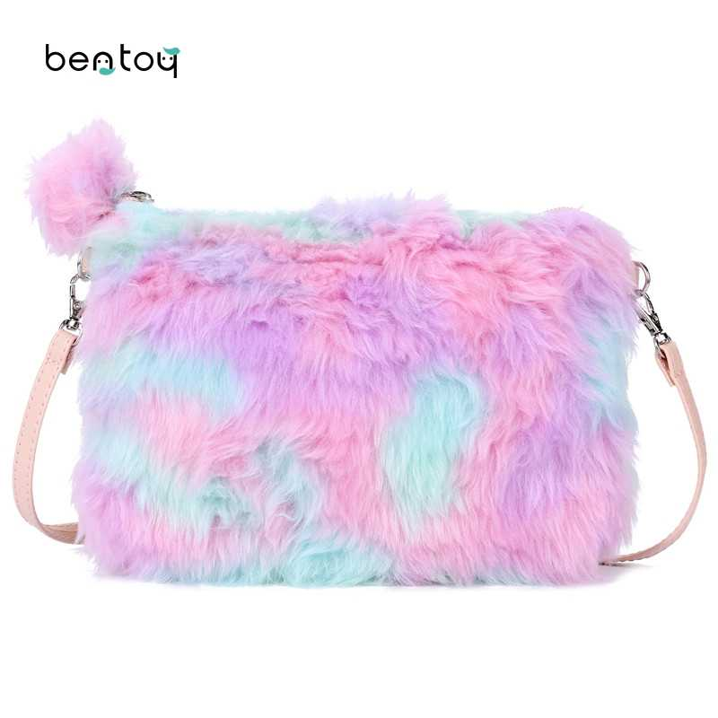 Winter Faux Fur Women Leather Bag Small Cute Messenger Crossbody Bag Girls Candy Cartoon Handbag Zipper Day Clutches Purse