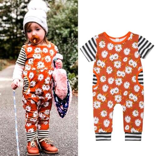 0-24 M Pasgeboren Jumpsuit 1 Stuk Kleding Baby Meisje Zomer Bloemen Streep Katoenen Romper Korte Mouwen Casual Sute Kleding