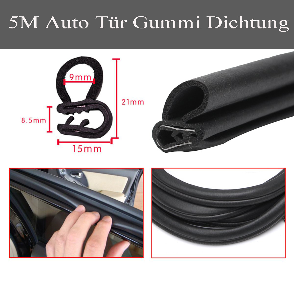 Fast Deliver 5 M Black Car Edge Protector U-shaped Rubber Auto Door Noise Insulation Anti-dust Soundproof Sealing Strips Trim Attractive Designs;
