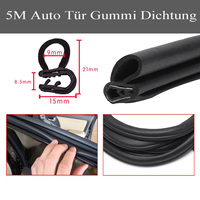 5 M Black Car Edge Protector U shaped Rubber Auto Door Noise Insulation Anti Dust Soundproof Sealing Strips Trim