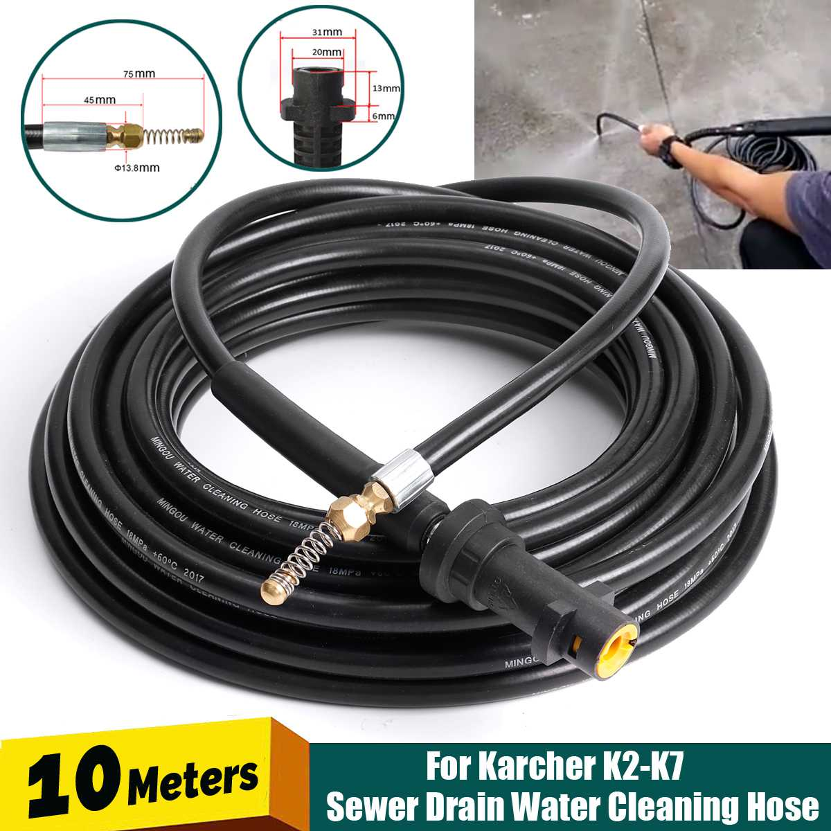 10M Pressure Washer Sewer Drain Cleaning Hose 1/4 Inch Quick Release Drain Sewer Cleaning Hose For K K2-K7 Water Guns