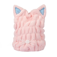 Cute Cat Microfiber Solid Quickly Dry Hair Hat Womens Girls Ladies Cap Bath Accessories Drying Towel Head Wrap Hat 1 pc hair drying cap lovely solid color quickly dry hair hat