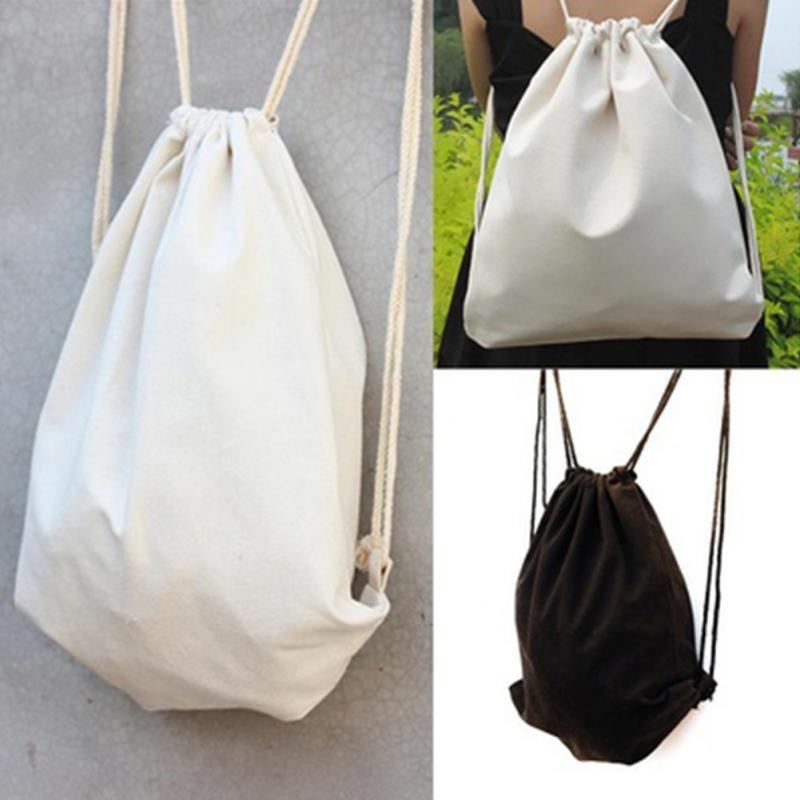 Women Canvas Backpacks Girls Drawstring Bag Student Teenager Schoolbag Female Solid Color Sack Bag Black White Shopping Bags #15