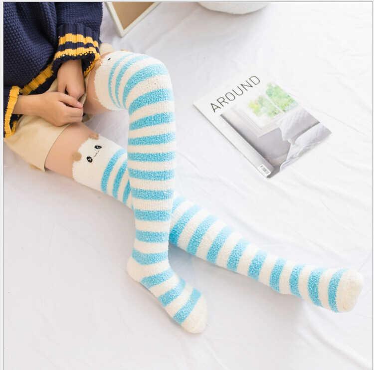 2019 Yumuşak Kabarık Tüylü Kalın Mercan Polar Sıcak Kadın Bayan Kış Kat Yatak Ayak Bileği Çorap
