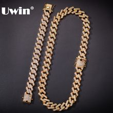 UWIN 14mm Cuban Link Jewelry Set Iced Cubic Zirconia Necklaces &Bracelets For Men Women Gold Color Hiphop Jewelry Drop Shipping(China)
