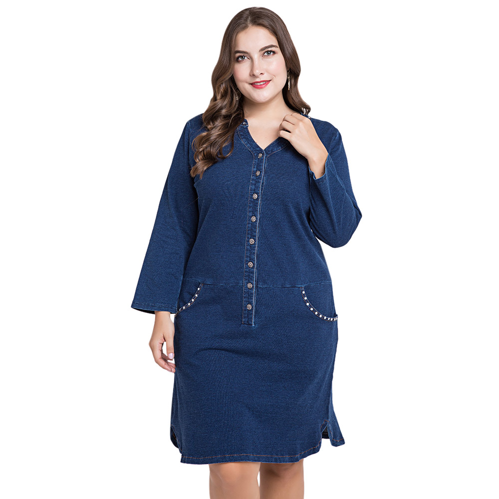 US $20.6 50% OFF|Wipalo Women Plus Size Denim Dress With Pockets V Neck  Long Sleeve Knee Length Buttons Casual Straight Jean Dress 5XL Vestidos-in  ...