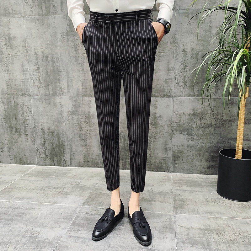 Grey Colour Formal Pant Stripe Men 39;s Social Trousers Spring Black Grey 4 Color Men