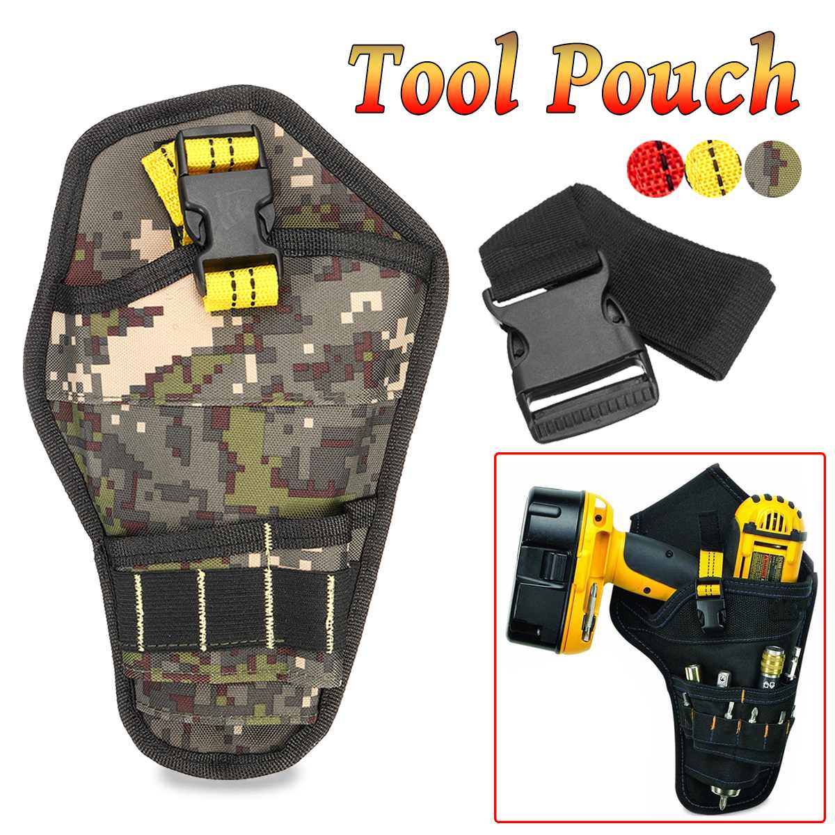 Multi-functional Drill Holster Electrician Tool Bag Portable Waist Bag Pouch  For Wrench Hammer Screwdriver With Waist Belt