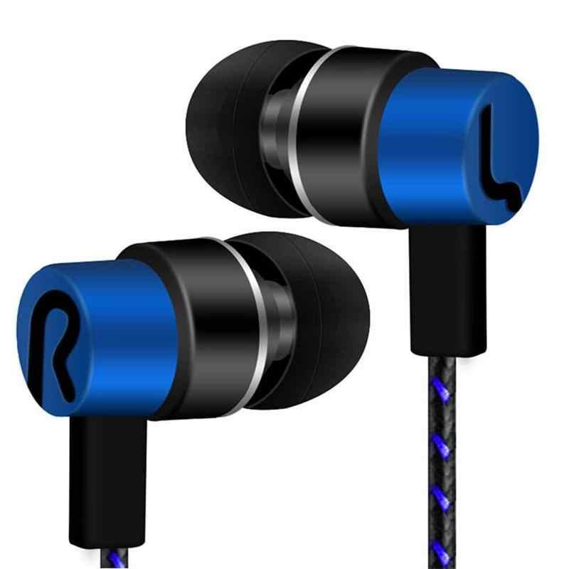 In-ear Auricolari Con Microfono Stereo Doppio Audio Surround Filo Intrecciato Durevole Auricolari Sport Corsa e Jogging Musica Auricolari di Gioco
