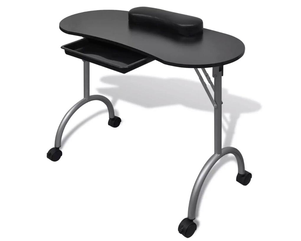 Vidaxl складной Маникюрный Стол с плотной подушечкой на запястье 4 запираемых колеса маникюрные столики профессиональная коммерческая мебель 2 цвета