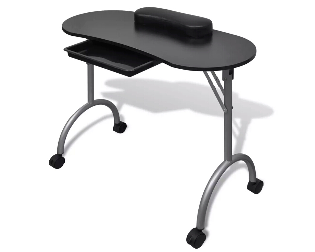 Vidaxl Foldable Manicure Table With A Thick Wrist Pillow 4 Lockable Wheels Nail Tables Professional Commercial Furniture 2 Color