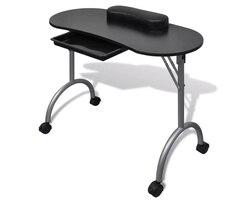 Vidaxl MESA DE MANICURA plegable con una almohada de muñeca gruesa 4 ruedas bloqueables mesas de uñas muebles comerciales profesionales de 2 colores