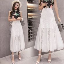 Women Summer Elegant Lace Hollow Out Ruffles Trumpet Skirt OL Lady High Waist Package Hip Bodycon Skirt Work Office Wear