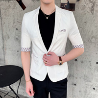 Summer Thin Men Blazer Three Quarter Sleeve Suit White Veste Homme Costume Slim Fit Casual Jacket Men Suits blusa masculina