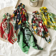 Fashion Floral Leaves Print Women Hair band Girls New Long rope Graceful Bow Scrunchie Ties Accessories