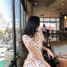 все цены на Fashion Women Square Collar Long Dress Puff Sleeves Sweet Print Dress Summer Cherries Printing Holiday Dress онлайн