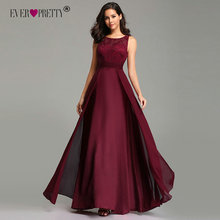 Burgundy Prom Dresses Long 2019 Ever Pretty Womens Sexy A-line O Neck Sleeveless Chiffon Lace Cheap Formal Evening Party Gowns